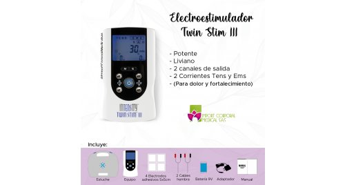 InTENSity Twin Stim III (TENS y EMS 2 canales 4 electrodos)